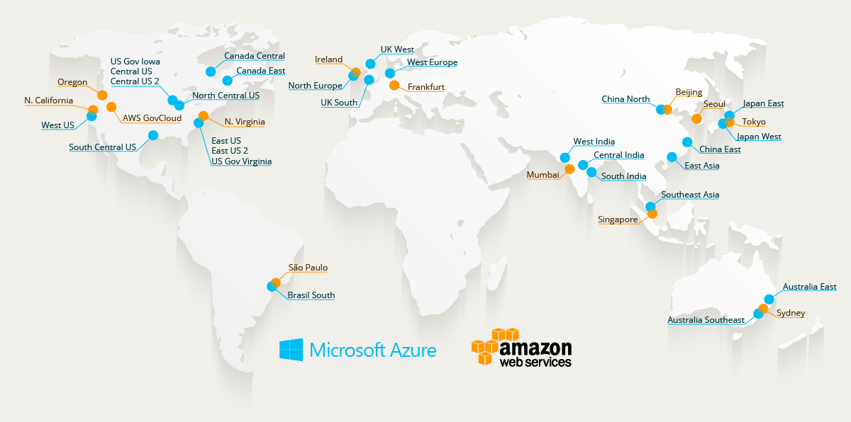 Azure and AWS data centers map