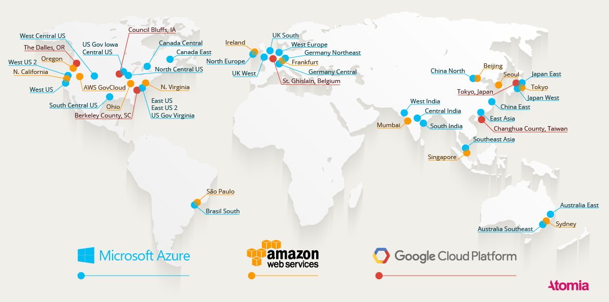 Map with available worldwide locations for AWS, Azure and Google Cloud