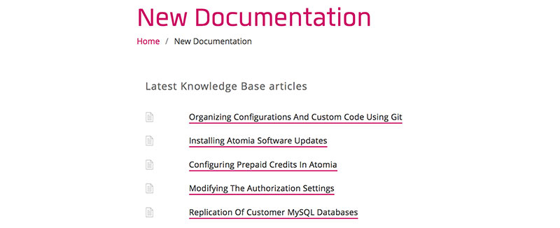 List of new documentation